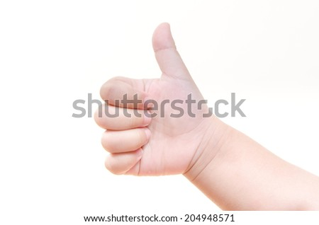 A little girl's hand isolated hand shows OK - stock photo