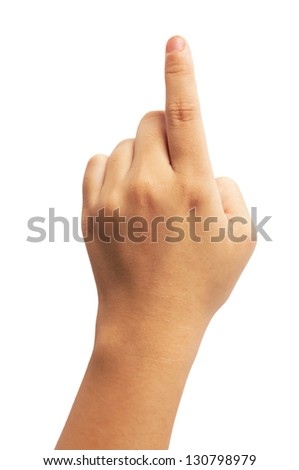 A little girl's hand touches the virtual screen.isolated on white - stock photo