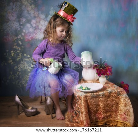 A little girl's tea party - stock photo