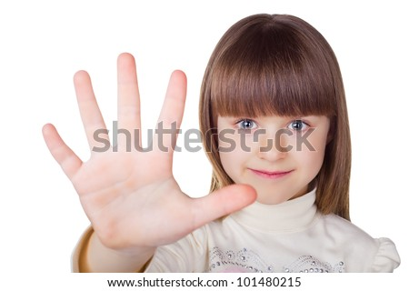 A little girl shows gesture - five fingers, isolated on white background - stock photo