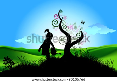A little girl watering a tree - stock photo