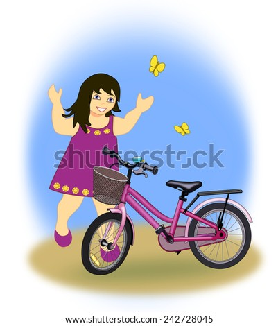 A little girl who are very happy over her new bike.  - stock photo