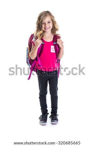 A little girl with  backpack, school, learning, knowledge, isolated on white background - stock photo