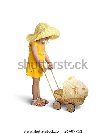 A little girl with doll carriage isolated on a white