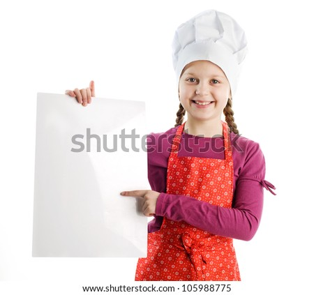 A little nice chef with a blank sheet of paper - stock photo