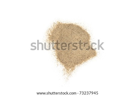 a little of white pepper powder isolated in white - stock photo