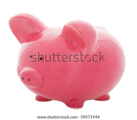 A little, pink piggy bank on a white background.
