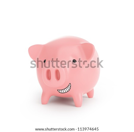 A little pink piggy bank with a big grin - stock photo