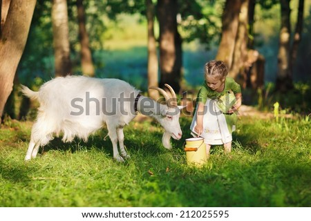 A little pretty blond girl in a green dress and white apron holding a milk-can and playing with her pet goat in the field in a sunny summer day. Kids as helpers in the country. - stock photo
