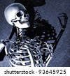 A lively skeleton with dramatic light and shadow - digitally manipulated 3d render. - stock vector