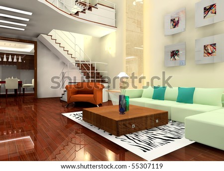 a living room in the villa - stock photo