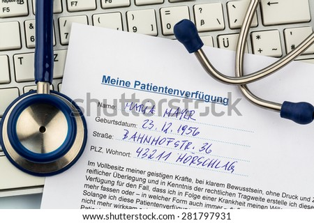a living will in german. instructions for the doctor or the hospital in the event of terminal illness. - stock photo