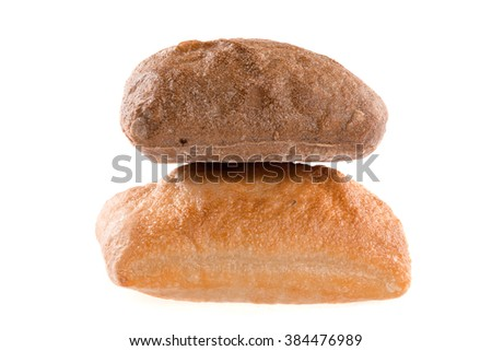 A loaf of bread on a white ground