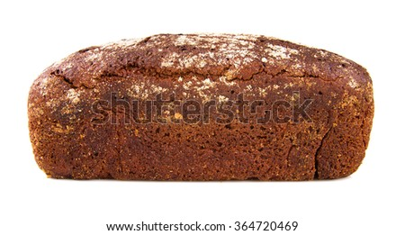 a loaf of bread out of the dark varieties of grain on a white background