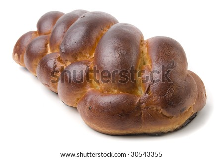 A loaf of challah bread for shabbat - stock photo