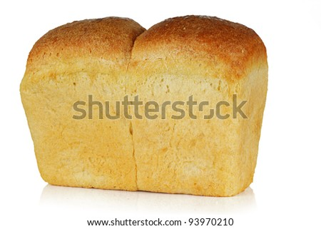 A loaf of fresh bread on a white