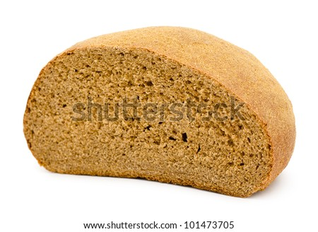 a loaf of fresh rye bread, over white