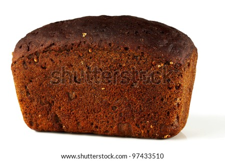 A loaf of rye bread on a white background.