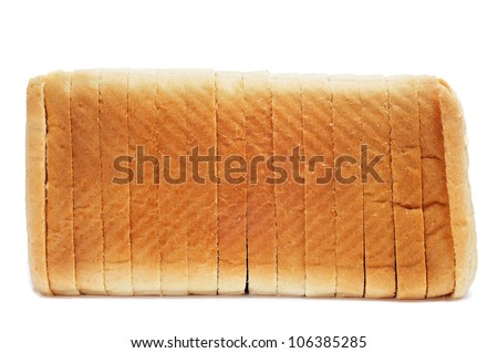 a loaf of sliced bread on a white background - stock photo