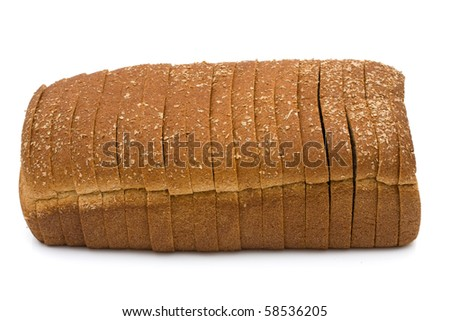 A loaf of whole wheat bread isolated on a white background, loaf of bread - stock photo