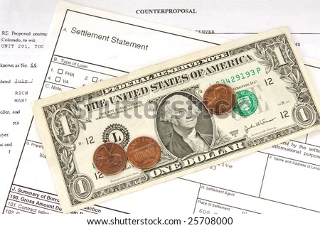 A loan contract settled for pennies on the dollar - stock photo