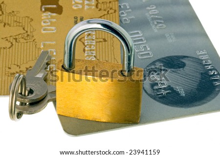 A lock for bank cards - stock photo