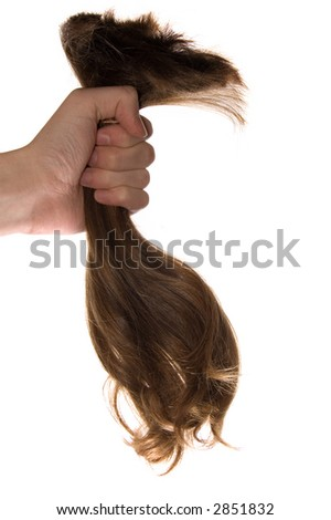 A lock of hair in a hand - stock photo
