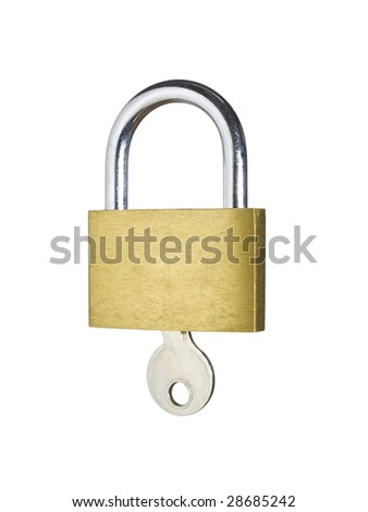 A lock with a key isolated on white background.