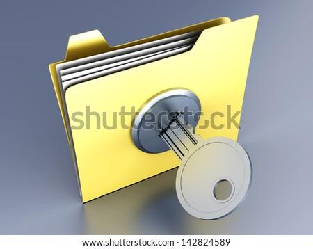 A locked Folder. 3D illustration. - stock photo