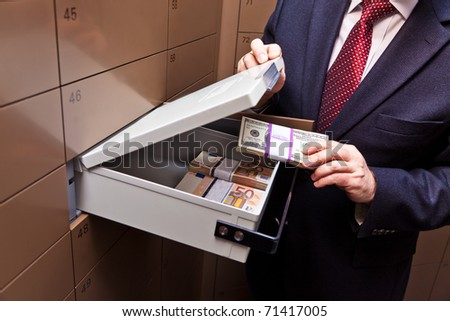 A locker in a bank vault. Storage of cash and documents. - stock photo