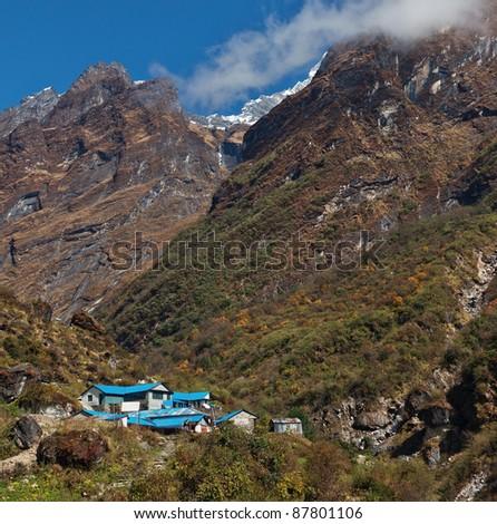 A lodge Deurali on the path to Annapurna - Nepal, Himalaya - stock photo