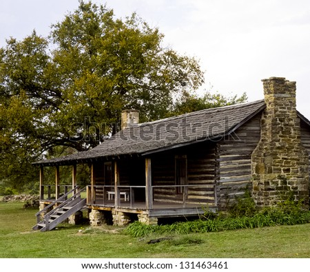 A log building at historic Ft. Gibson in NE Oklahoma - stock photo