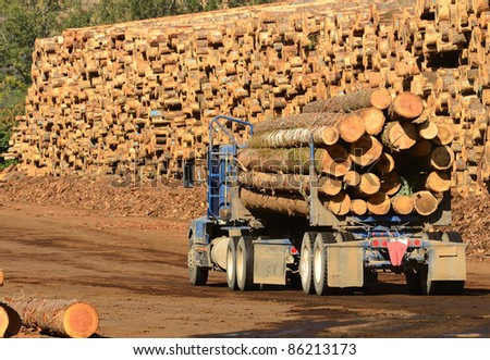 A log truck delivers its load to a sawmill in Oregon - stock photo