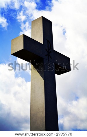 A Lomo-style photo of a large cross.