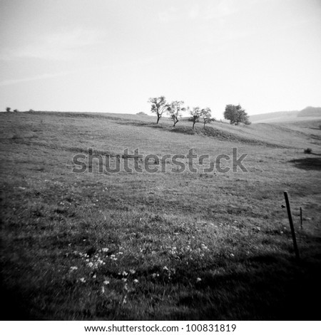 a lomography of a beautiful landscape - stock photo