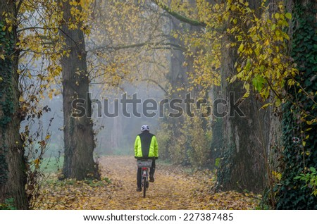 A lone biker in the on a trail in the park on a foggy day - stock photo