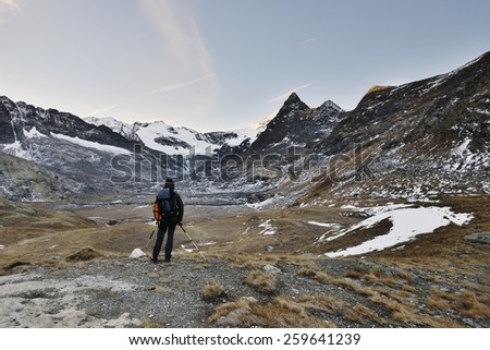 A lone hiker - Vanoise ( France ). - stock photo