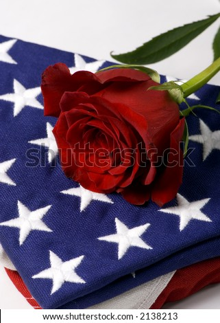 A lone red rose laying on top of a folded American flag. My hero. - stock photo