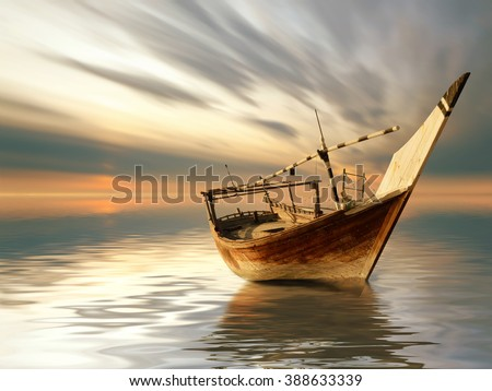 a lonely boat in the middle of the sea  - stock photo