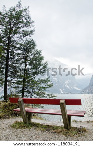 A lonely chair at Hallstatt lake, Austria