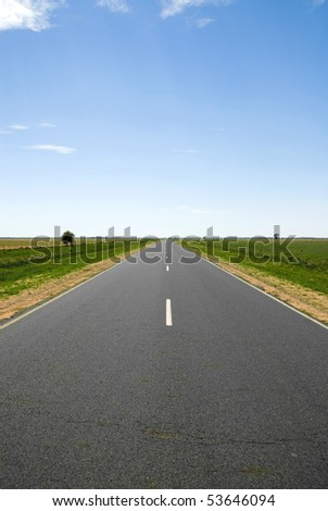 A lonely country road in Western New South Wales, Australia - stock photo
