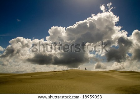 A lonely girl walking over a sand dune