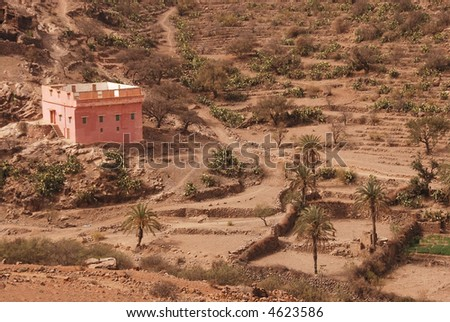 A lonely house in Atlas mountains, Moroco - stock photo