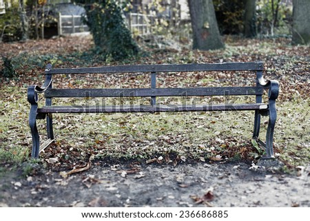 A lonely old vintage timber bench in a park with autumn leaves.  - stock photo