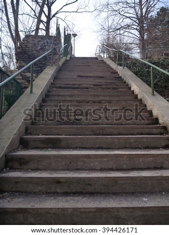 a lonely park stairway in a winter time
