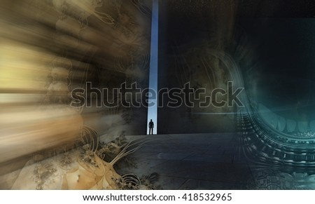 A lonely person walking through a narrow passage made in 3d software - stock photo