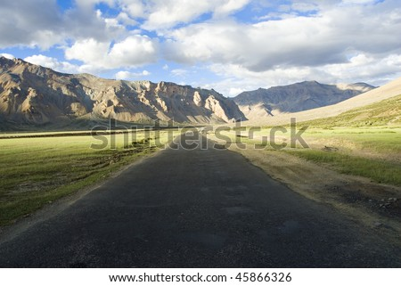 a lonely road in jammu kashmir ladakh - stock photo