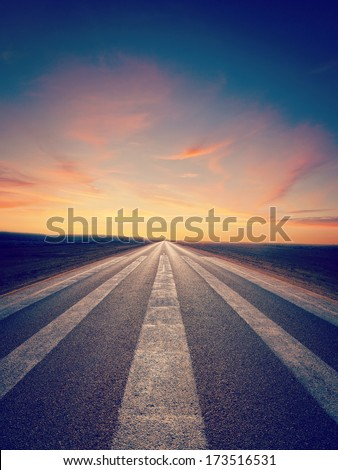 A lonely road in outback Australia, with an Instagram effect. - stock photo