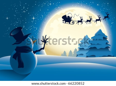 A lonely snowman waving to santa in a distance, full moon background - raster version. - stock photo