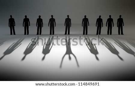 A lonely winner - raw of people casting long shadows. - stock photo